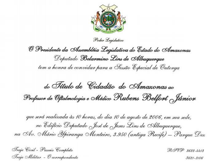 Prof Rubens Belfort Jr. recebe título de cidadão Amazonense