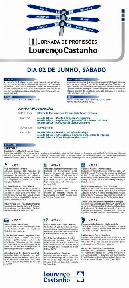 I Jornada de Profissões Lourenço Castanho