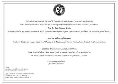 Convite para membro da Academia Nacional de Farmácia