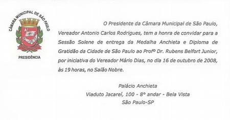 Medalha Anchieta e Diploma de Gratidão da Cidade de São Paulo.